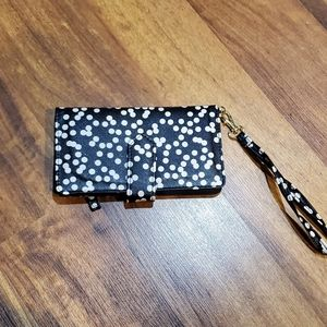 Black and White Polka Dot Wristlet